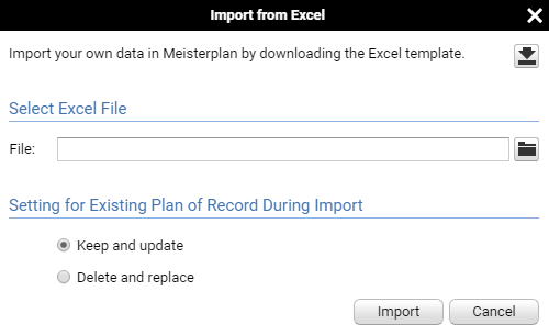 Import data from Excel into Meisterplan