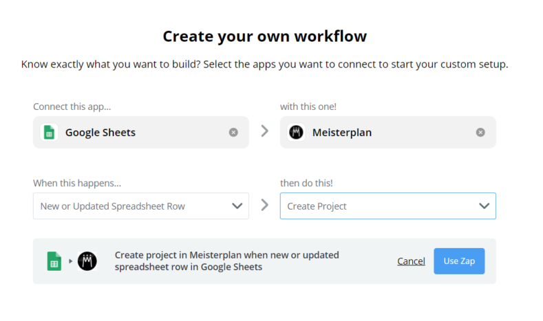 Create a new project with the Meisterplan Zapier integration